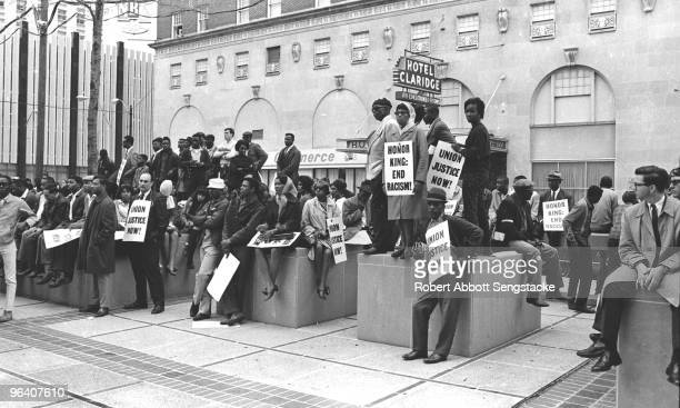 View of demonstrators outside the Hotel Claridge where in the wake of the assassination of Civil Rights leader Martin Luther King Jr stalled talks...