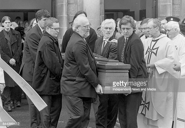 View of Dermot Morgan's coffin is carried out of St Theresa's Church after Dermot Morgan's funeral Mount Merrion Dublin Ireland March 6 1998 Among...
