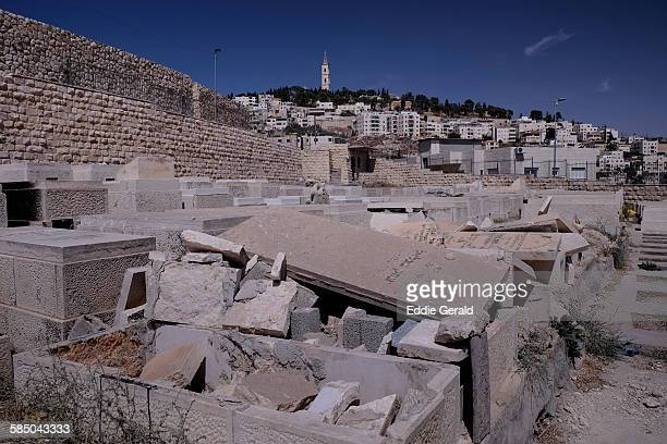 View of desecrated Jewish tomb stones that were destroyed on Mount of Olives cemetery in East Jerusalem Israel on 24 September 2015 Jerusalem has...