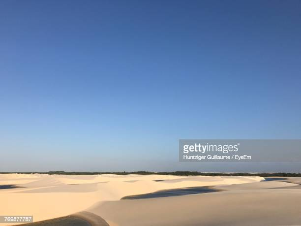 view of desert against blue sky - barreirinhas stock pictures, royalty-free photos & images