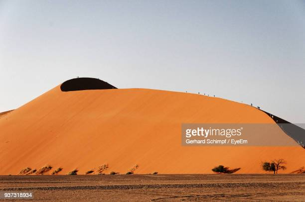 view of desert against clear sky - gerhard schimpf stock photos and pictures