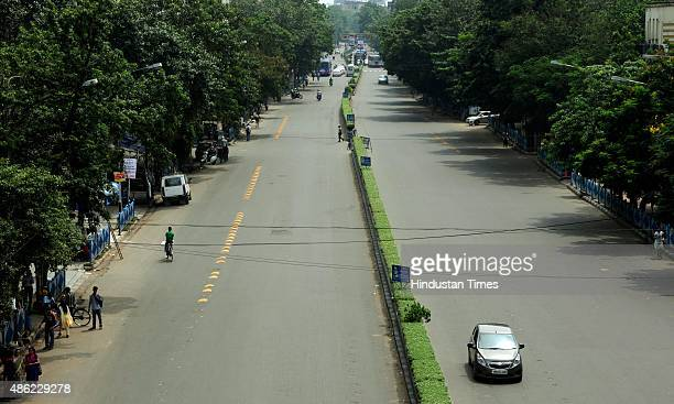 A view of deserted South Kolkata area during a 24hours nationwide strike called by 10 Trade Union Parties against BJP's proposed labour law on...