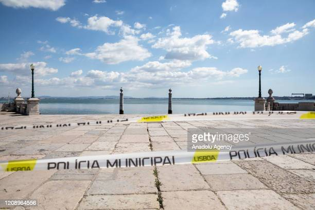 A view of desertedCais das Colunas in Lisbon Portugal on April 02 2020 Portugal is in a state of emergency as part of coronavirus measures