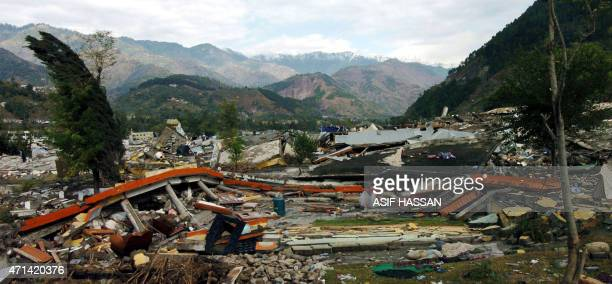 View of destroyed homes in Balakot Pakistan16 October 2005 Heavy rains continued to drench northern Pakistan bringing further misery and hampering...