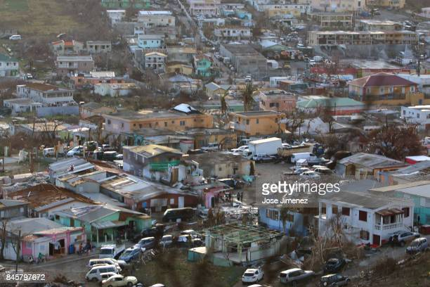 A view of destrucition in a neighborhood seven days after Hurricane Irma on September 11 2017 in St Maarten The Caribbean island sustained extensive...