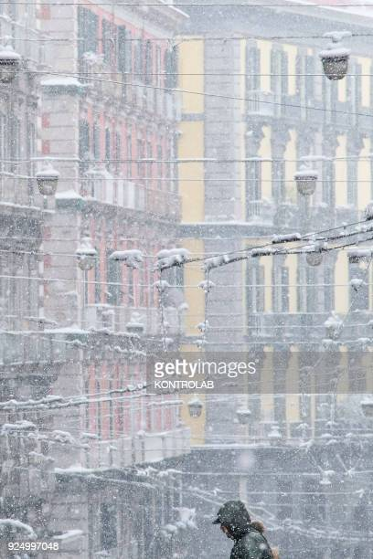 A view of detail of Naples during the extraordinary snowfall that has whitened the city Bad weather comes from the Siberian region and has been...
