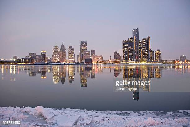 View of Detroit's skyline seen from across the Detroit River in Windsor Ontario Canada