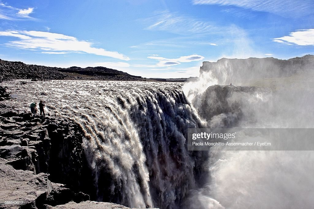 View Of Dettifoss Waterfall Against Sky : Stock Photo