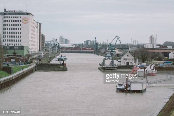 View of Deutzer harbor before the sabine storm arrival on February 9 2020 in Cologne Germany