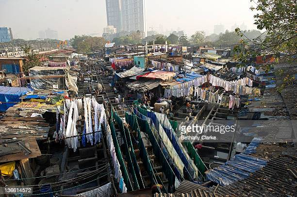 A view of Dhobi Ghat on November 4 2011 in Mumbai India Dhobi Ghat is known as the world's largest laundry with 800 wash pens with flogging stones...