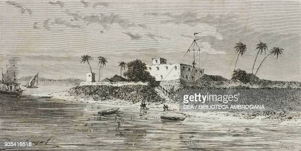 View of Diamond Harbour on the Hooghly river east bank engraving from India travel in Central India and Bengal by Louis Rousselet