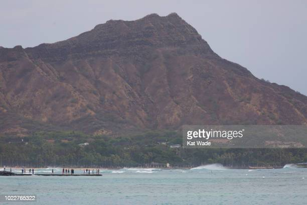 View of Diamond Head from Waikiki as waves roll in from Hurricane Lane on August 24, 2018 in Honolulu, Hawaii. While rain from Hurricane Lane has...
