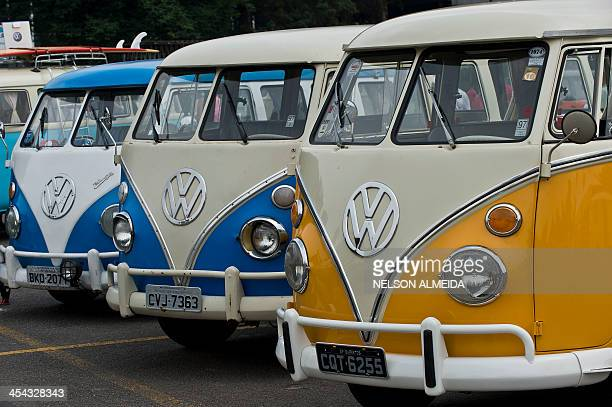 View of different models of Kombi during an exhibition at the Volkswagen plant in Sao Bernardo do Campo southern Sao Paulo Brazil on December 8 2013...