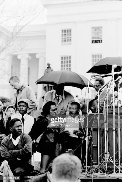 View of dignitaries in front of the Montgomery State Capitol building at the conclusion of the Selma to Montgomery March Montgomery Alabama March 25...