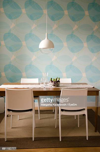 view of dining table - dining room stock photos and pictures