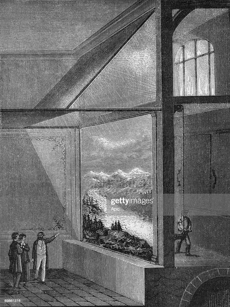 "View of diorama of Louis Daguerre (1787 1851) and the type of change in the engraving table from the book ""Album of science famous scientist discoveries"" in 1899 : News Photo"