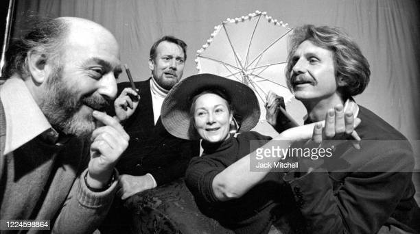 View of director Frank Dunlop and actors Denholm Elliot Blythe Danner and Rene Auberjonois during rehearsals for the Brooklyn Academy of Music...
