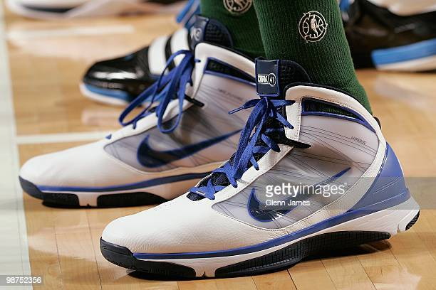 A view of Dirk Nowitzki of the Dallas Mavericks shoes taken before the game against the Orlando Magic during the game on April 1 2010 at American...