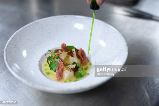 A view of dishes prepared by Chefs Charlie Palmer Matt Lambert and Dan Kluger during a Dinner with Charlie Palmer Matt Lambert and Dan Kluger part of...