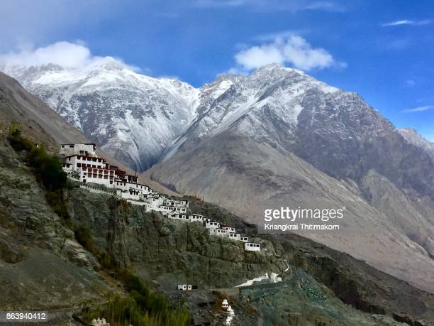 view of diskit monastery in nubra valley, leh ladakh, india. - kashmir stock photos and pictures