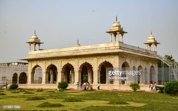View of Diwan-i-khas with pillared chattris at its corners above situated within the red fort complex in Delhi. Built from red sandstone in1639, the...