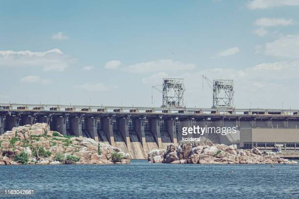 view of dneproges hydroelectric power station - station stock pictures, royalty-free photos & images