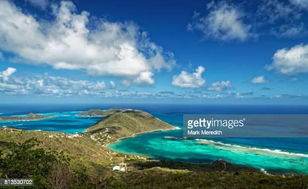 view of dog bay from gorda peak national park, virgin gorda, british virgin islands - islas de virgin gorda fotografías e imágenes de stock