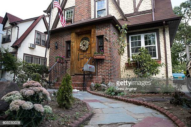 A view of Donald Trump's childhood home September 12 2016 in the in the Jamaica Estates neighborhood in the Queens borough of New York City The home...