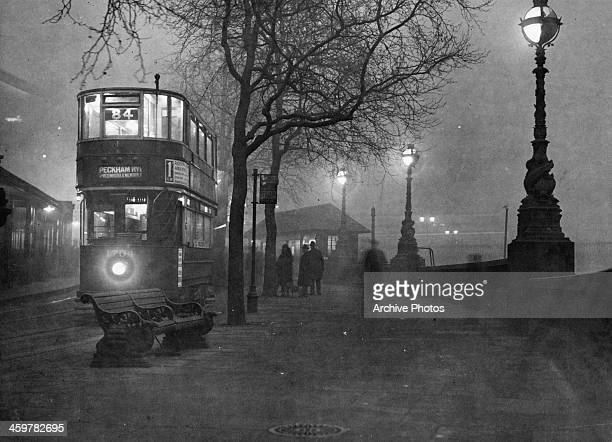 A view of Double Decker trolley on the streets of London Circa 1940