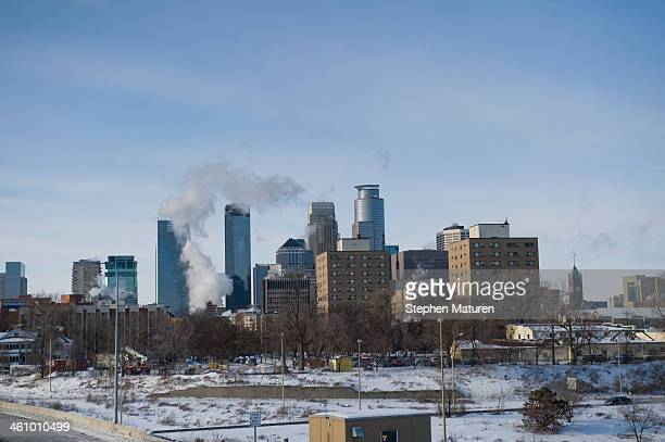 A view of downtown as the area deals with record breaking freezing weather January 6 2014 in Minneapolis Minnesota A large area of low pressure is...