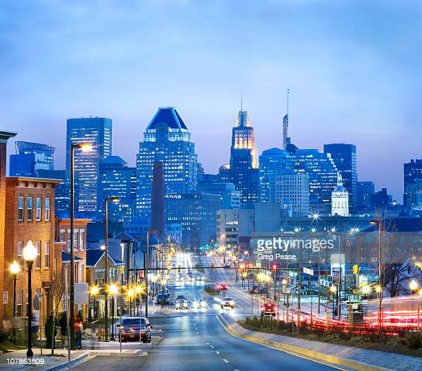 view of downtown baltimore city - baltimore maryland - fotografias e filmes do acervo