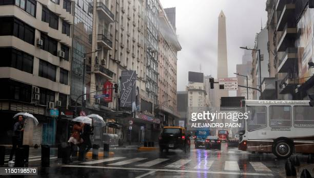 View of downtown Buenos Aires on June 16 2019 during a power cut A massive outage blacked out Argentina and Uruguay Sunday leaving both South...