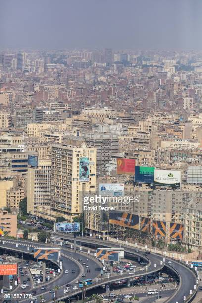 A view of downtown Cairo and traffic passing over the AbdelMinam Riyad square on September 24 2017 in Cairo Egypt Overview photos of Cairo's...