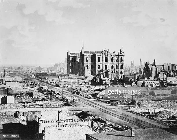 A view of downtown Chicago in the aftermath of the Great Chicago Fire Illinois October 1871