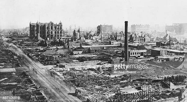 View of downtown Chicago, including the damages Court House, in the aftermath of the Great Chicago Fire, Illinois, October 1871.