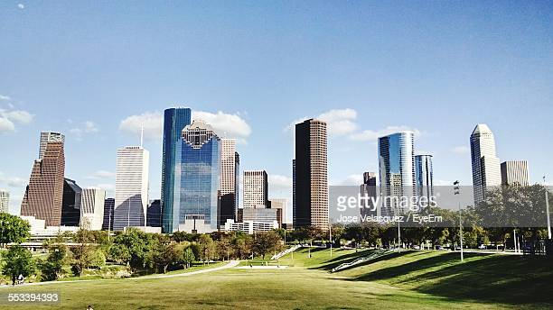 view of downtown district from park - houston texas fotografías e imágenes de stock