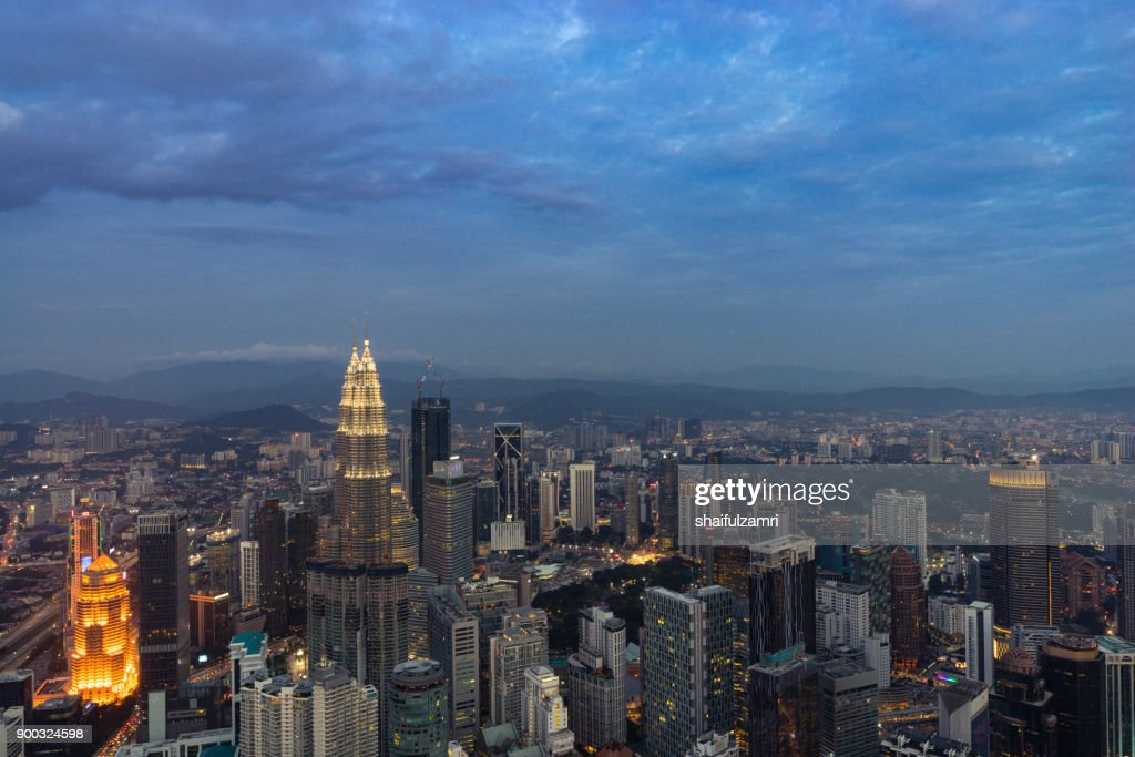 View of downtown Kuala Lumpur from Kuala Lumpur Tower : Stock Photo
