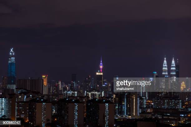 view of downtown kuala lumpur, malaysia on new year eve 2018 - shaifulzamri stock pictures, royalty-free photos & images