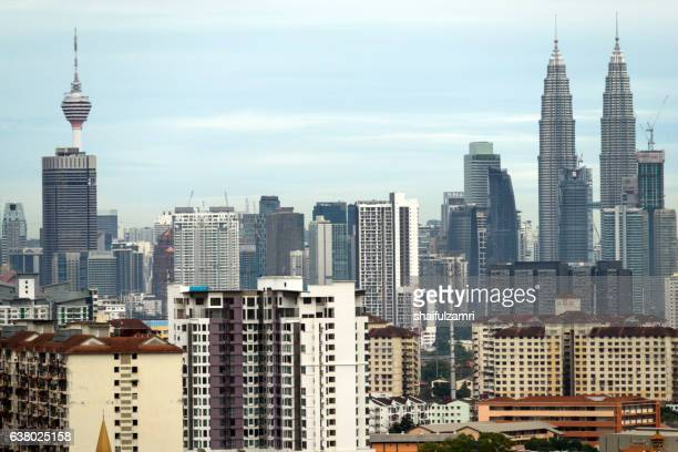 view of downtown kuala lumpur - shaifulzamri stock pictures, royalty-free photos & images