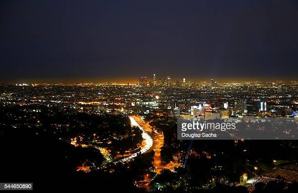 View of Downtown Los Angeles from Mulholland Drive in the eastern Santa Monica Mountains, California, USA