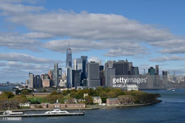 View of downtown Manhattan and Governors Island on October 18, 2019 as seen from Brooklyn, New York.