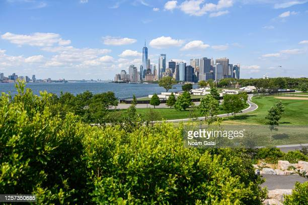 View of downtown Manhattan as seen from the newly reopened Governors Island as the city enters Phase 4 of re-opening following restrictions imposed...