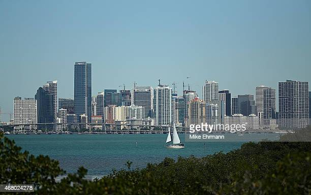 View of downtown Miami during Day 7 of the Miami Open presented by Itau at Crandon Park Tennis Center on March 29, 2015 in Key Biscayne, Florida.