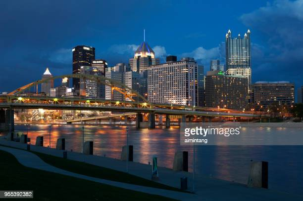 View of downtown Pittsburgh skyline from the north shore of Allegheny River