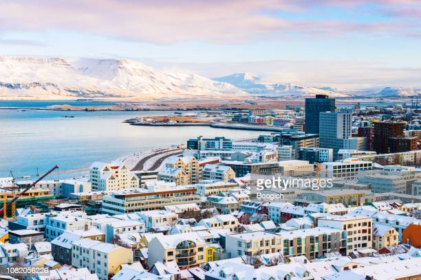 view of downtown reykjavik iceland on winter morning - reykjavik stock pictures, royalty-free photos & images
