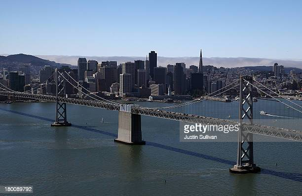 A view of downtown San Francsisco and the western span of the San FranciscoOakland Bay Bridge on September 8 2013 in San Francisco California