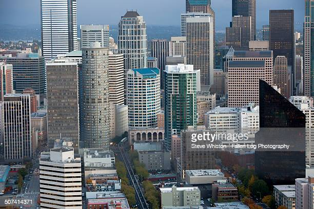 view of downtown seattle - monorail stock pictures, royalty-free photos & images