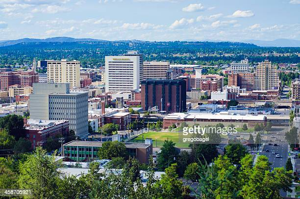 view of downtown spokane, wa from south hill - spokane stock pictures, royalty-free photos & images