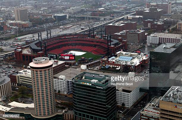 View of downtown St Louis and Busch Stadium home of the St Louis Cardinals baseball team photographed from the St Louis Gateway Arch on a fall rainy...