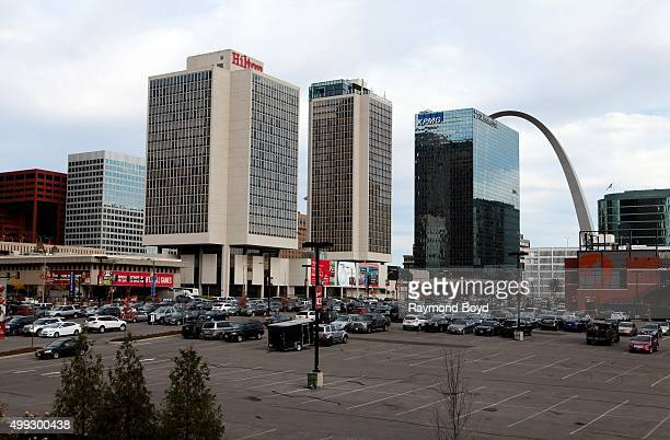 View of downtown St Louis photographed from Busch Stadium parking garage ramp in St Louis Missouri on November 15 2015